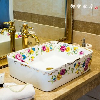 Jingdezhen new ceramic bath lavatory household square lavabo European creative stage basin sink