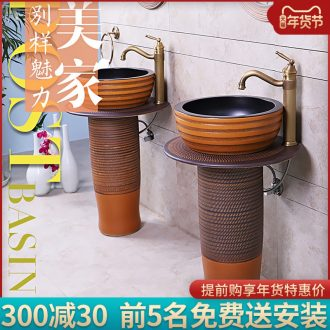 Basin of pillar type lavatory ceramic column balcony sink sink Basin of is suing garden ground column independently