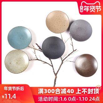The Product porcelain sink coarse pottery small circular cup mat checking ceramic tea tea tray was retro tea tea accessories