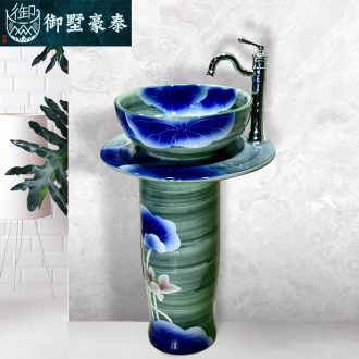 The balcony is suing toilet ceramic basin art lavatory basin of Chinese style lotus floor The sink