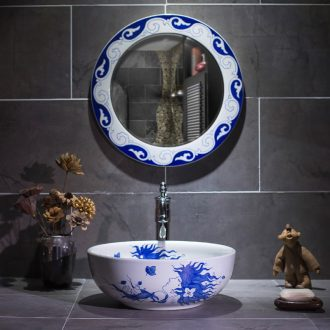 Basin of Chinese style antique hand - made of toilet stage Basin water Basin of blue and white porcelain art ceramic washing the Basin that wash a face