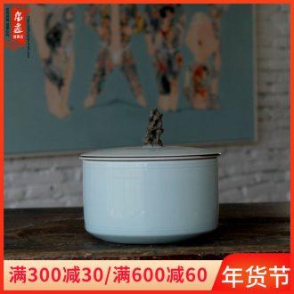 Jingdezhen ceramics pu 'er tea box ceramic film celadon porcelain tea pot manually creative tea ware