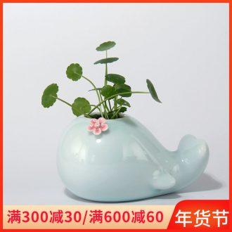 European simplicity vase furnishing articles of jingdezhen ceramic Nordic white living room modern creative little flower arranging, hydroponic flower pot