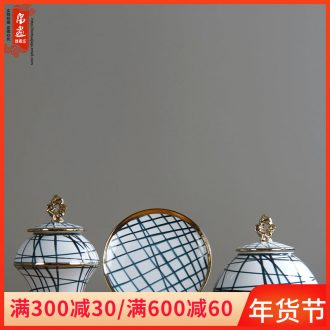 Furnishing articles of jingdezhen ceramic vases, POTS light European - style key-2 luxury gold - plated three - piece biennial reel household villa decoration restoring ancient ways