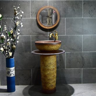 The sink basin of restoring ancient ways ceramic floor pillar pillar type lavatory small family toilet one - piece basin