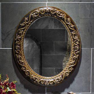Archaize jingdezhen ceramic picture frame with high temperature ceramic bathroom mirror mirror durable elliptical pattern bathroom mirror