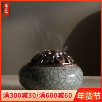 Jingdezhen ceramic incense buner furnishing articles three - legged archaize home sitting room fragrant heavy tower of sandalwood incense seat teahouse adornment
