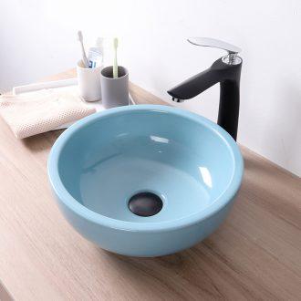 Ice crack thickening mini stage basin of small size 35 cm Nordic blue bathroom ceramic lavabo balcony birdbath