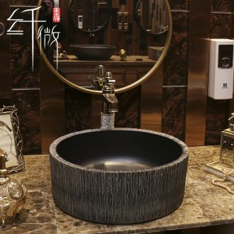 Basin of northern Europe on the ceramic lavabo round black contracted the lavatory Basin of restoring ancient ways is the stage Basin European art
