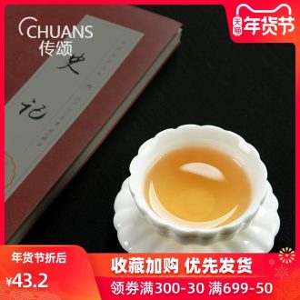 Talk of dehua white porcelain lotus petals CPU master cup single cup tea cups kung fu tea set of ceramic sample tea cup
