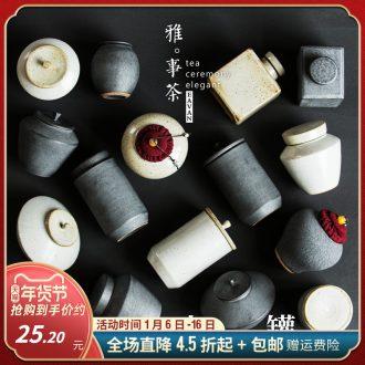 Restore ancient ways small caddy fixings ceramic seal tank coarse pottery son tea purple sand tea set metal POTS POTS of tea boxes