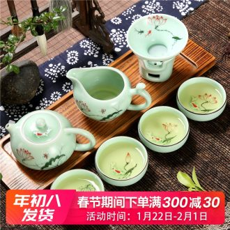 Home sitting room longquan celadon porcelain lotus goldfish fish kung fu tea tea tea cup suit Chinese style