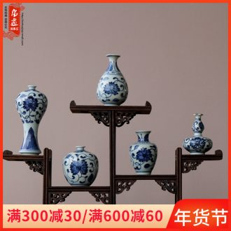Jingdezhen blue and white porcelain vase furnishing articles ceramic living room flowers water raise flower arranging classical decoration mini small expressions using