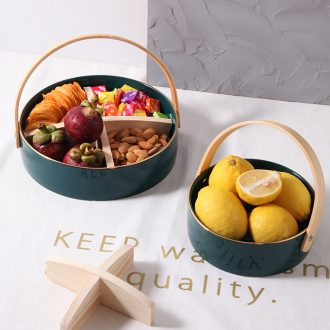 Northern wind creative living room frame ceramic fruit platter contracted and I household dessert snacks tea table plate of fruit tray