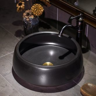Black art stage basin to the small size of jingdezhen ceramic round bowl lavatory basin stage basin that wash a face to wash your hands