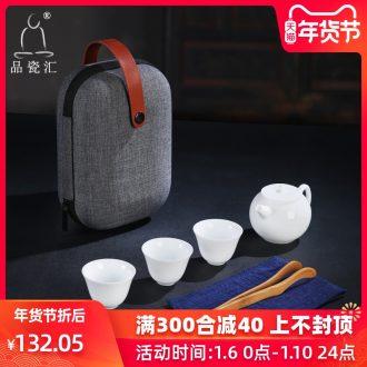 The Product porcelain sink dehua white porcelain tea set ceramic travel office portable kung fu tea set a pot of three cups of crack cup