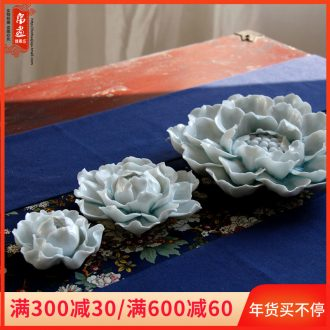 Jingdezhen shadow celadon all checking ceramic peony yarn sweet sweet scented decoration porcelain