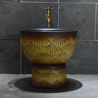 Jingdezhen porcelain lotus petals mop pool home antique art restoring ancient ways is the balcony toilet easy mop pool