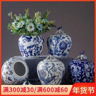Jingdezhen ceramic POTS wedding gift decoration office desktop blue and white porcelain decoration household creative furnishing articles