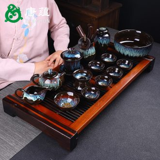 Jingdezhen built light tea sets tea cup home kunfu tea light variable temmoku glaze ceramic teapot tureen masterpieces