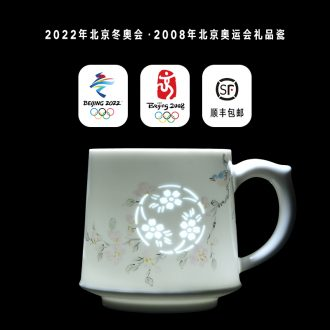 Jade BaiLingLong office filtering cup of jingdezhen porcelain enamel porcelain hand - made ceramic high - capacity painting of flowers and flower cups