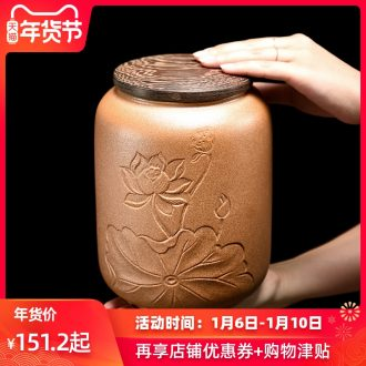 Longquan celadon porcelain tea caddy fixings warehouse a large wooden box cover seal pot dried fruit storage tank