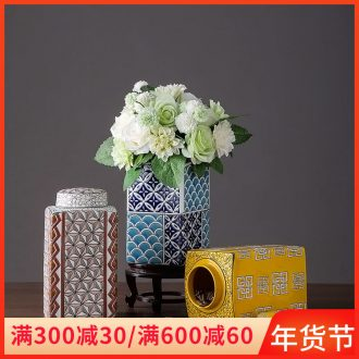 Ceramic POTS household storage square pot of new Chinese style home furnishing articles contracted sitting room dried flowers flower arrangement soft adornment