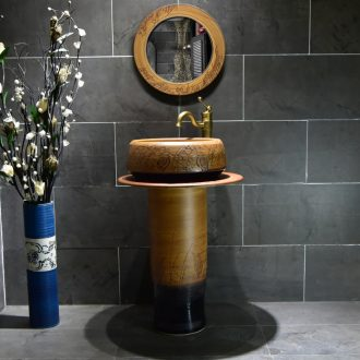 Lavabo ceramic column basin bathroom balcony ground integrated sink the lavatory basin of small family toilet column