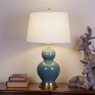 New Chinese style restoring ancient ways American ceramic desk lamp sitting room porch decoration villa lobby crack glaze cyan of bedroom the head of a bed