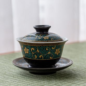 Quiet life only three tureen household kung fu tea set ceramic teapot teacup tea tea tureen item parts