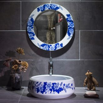 On the blue and white porcelain basin of jingdezhen ceramic lavatory basin of Chinese style basin small art circle lavabo is contracted
