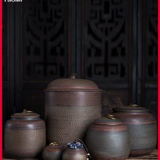 Tao fan purple pottery large capacity domestic huge caddy fixings ceramic POTS storage warehouse pu 'er tea pot seal and POTS