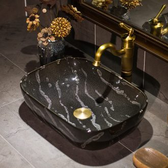 Marble basin small square art on the heat sink basin household bathroom ceramic wash basin