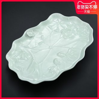 Drainage type ceramic tea tray was contracted dry Taiwan tea tea table of black celadon large tea tray was home sitting room