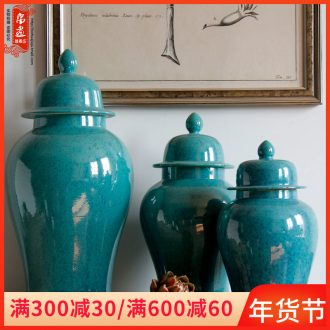 Jingdezhen ceramic dry flower vase agate general blue can receive the sitting room porch decoration elegant household furnishing articles