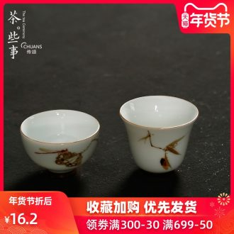 Famed paint masters cup ceramic bowl tea tea set single cup tea sample tea cup pressure hand cup hand - made teacup
