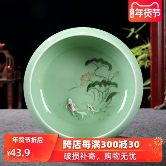 Kung fu tea set longquan celadon porcelain basin for wash cup tea wash bowl of tea large vessels XiCha big writing brush washer water jar