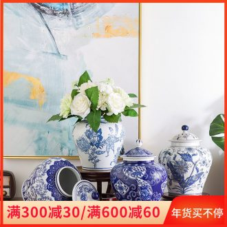 Jingdezhen porcelain dry flower vases, new Chinese style of archaize sitting room place wedding gift decoration porcelain with cover POTS