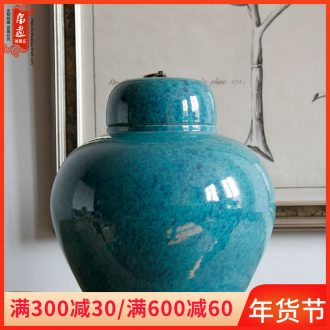 Jingdezhen ceramic vase furnishing articles illustrated the sitting room to receive agate, green and blue with cover a drum home furnishing articles