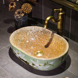 Lavabo of jingdezhen ceramic art basin archaize on its oval lavatory European for wash basin of the basin that wash a face