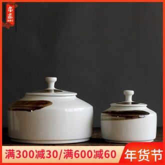 Storage tank is checking porcelain of jingdezhen ceramics under high temperature and glaze color tea place hand draw freehand brushwork in traditional Chinese painting creative caddy fixings
