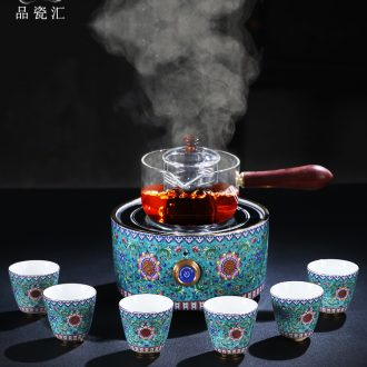 Cooking pot of jingdezhen porcelain enamel color TV TaoLu glass heated to boil tea, induction cooker steaming tea stove teapot