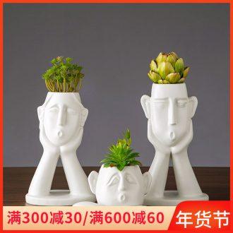 European white porcelain face vase I sitting room creative flower arranging, home furnishing articles face flower implement
