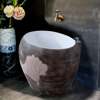 Ling yu carved lotus pool Chinese style restoring ancient ways of ceramic art mop mop pool household balcony toilet mop pool