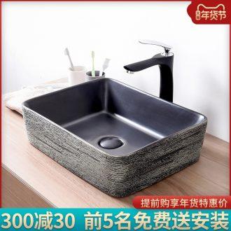 Black on the stage basin sink home 35 cm rectangle small art ceramics single basin basin balcony