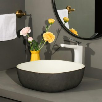 Square table basin balcony sink ceramic toilet lavatory household art metal glaze single basin of the basin that wash a face