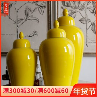 Jingdezhen ceramic vases, POTS single glaze lemon yellow sitting room of Chinese style household soft adornment furnishing articles arranging flowers adorn article