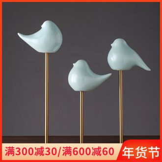 A small desktop furnishing articles furnishing articles ceramic bird, lovely home study manual shadow the qing jingdezhen ins creative ornament