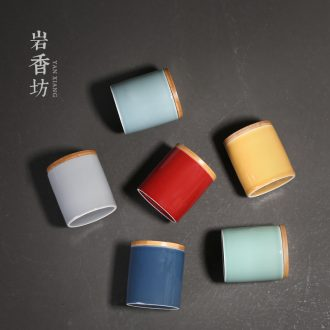 Straight canister YanXiang fang ceramics glaze pure color contracted small bamboo caddy fixings cover seal joker receives portable