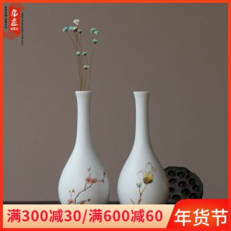 Manual coloured drawing or pattern of jingdezhen ceramics small incision inferior smooth white flower bottle water desktop express it in decoration